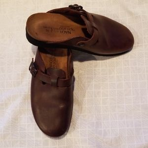 Naot Brown Leather Classic Clogs Size 38